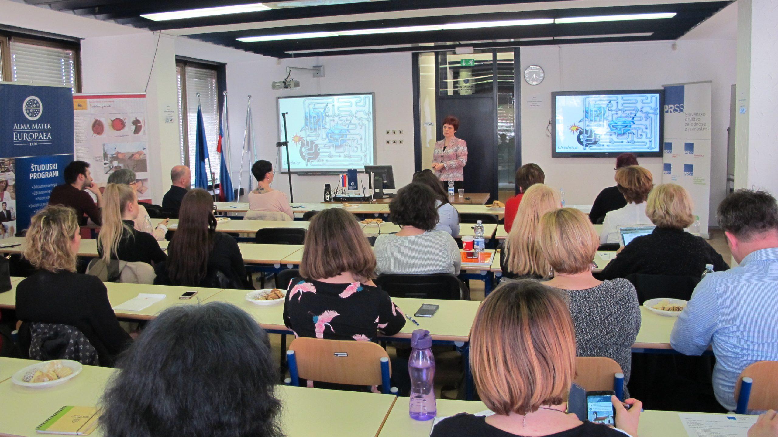 Skupno srečanje AMEU – ISH in Slovenskega društva za odnose z javnostmi – predavanje dr. Damjane Pondelek o soočanju s kriznimi situacijami